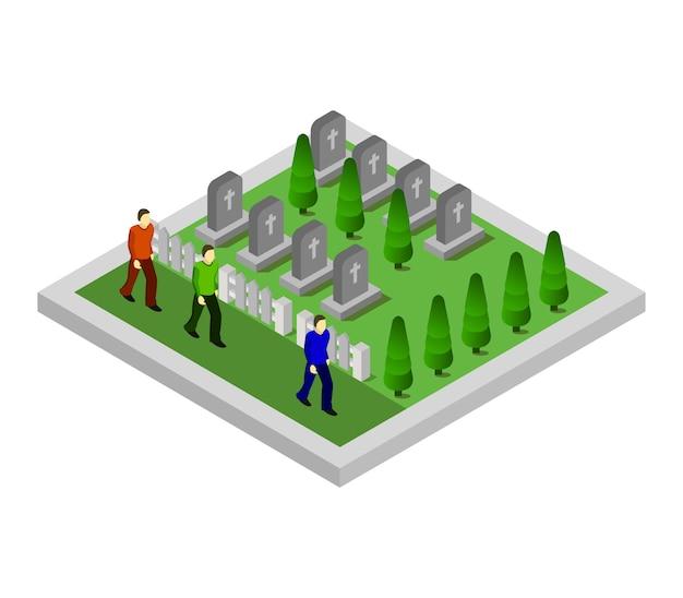 Isometrische begraafplaats