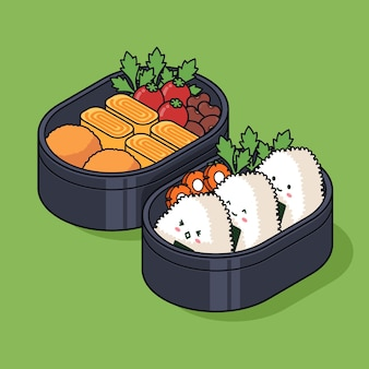Isometrische bento box illustratie