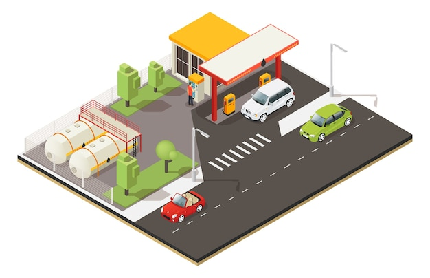 Isometrische benzine tankstation concept