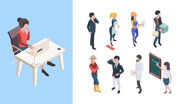 Isometrische beroepen. 3d mensen service werknemers zakelijke personen mannelijke vrouwelijke vector illustratie