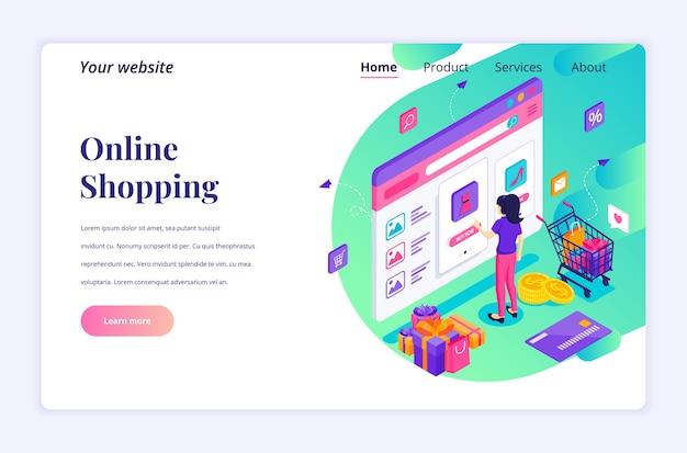 Isometrische bestemmingspagina ontwerpconcept van online winkelen. een jonge vrouw die producten in online websitewinkel koopt
