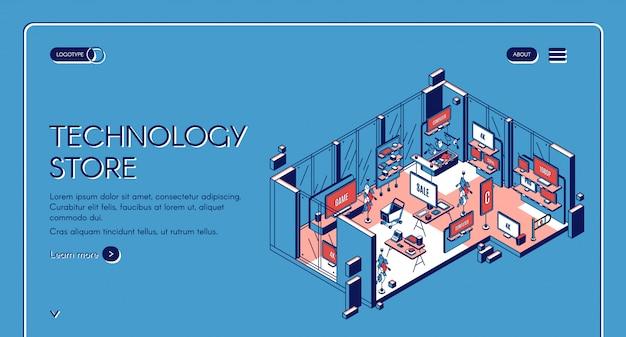 Isometrische bestemmingspagina technologiewinkel