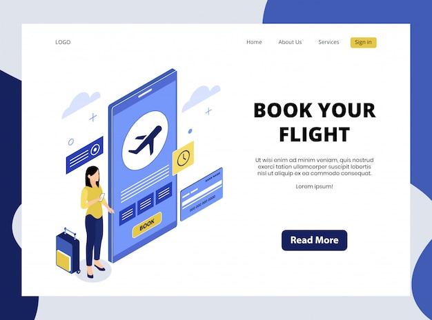 Isometrische bestemmingspagina van boek uw flight premium