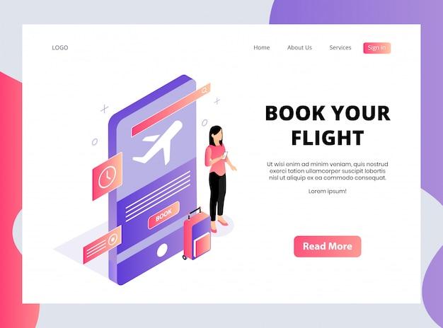 Isometrische bestemmingspagina van boek uw vlucht