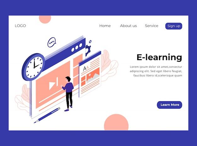 Isometrische bestemmingspagina van e-learning template premium