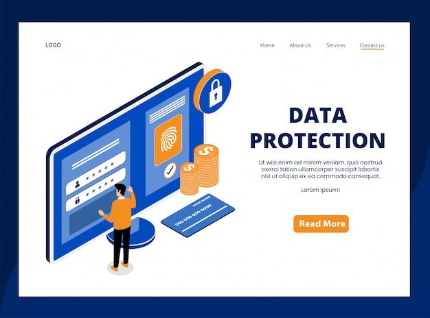 Isometrische bestemmingspagina van gegevensbescherming