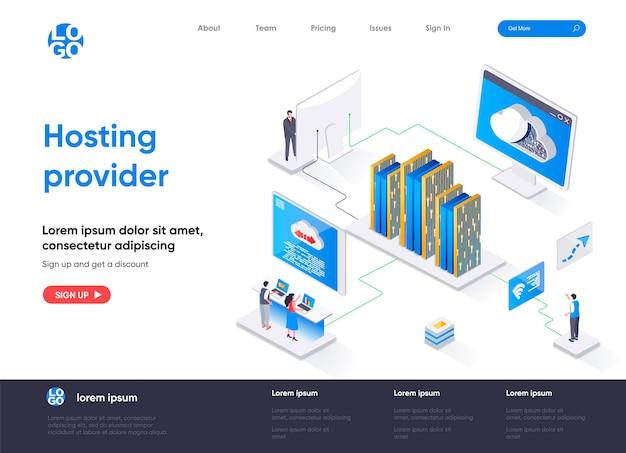 Isometrische bestemmingspagina van hostingprovider