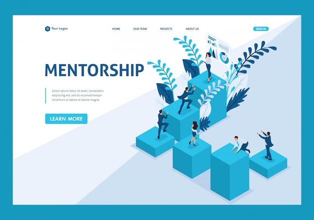 Isometrische bestemmingspagina van mentorschap en de impact ervan op zakelijk succes.