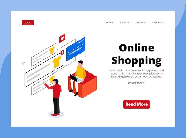 Isometrische bestemmingspagina van online winkelen