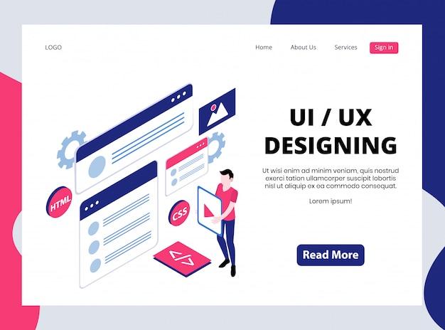 Isometrische bestemmingspagina van ui / ux-ontwerp
