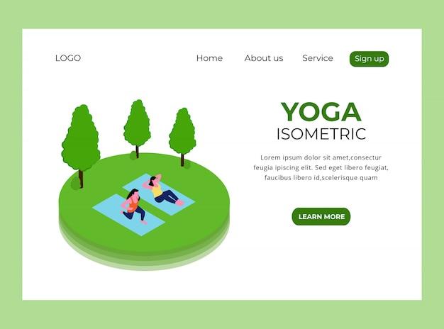 Isometrische bestemmingspagina van yoga