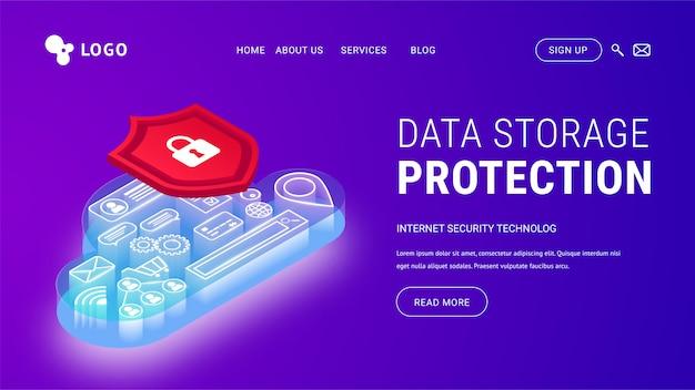 Isometrische bestemmingspagina voor bescherming van gegevensopslag