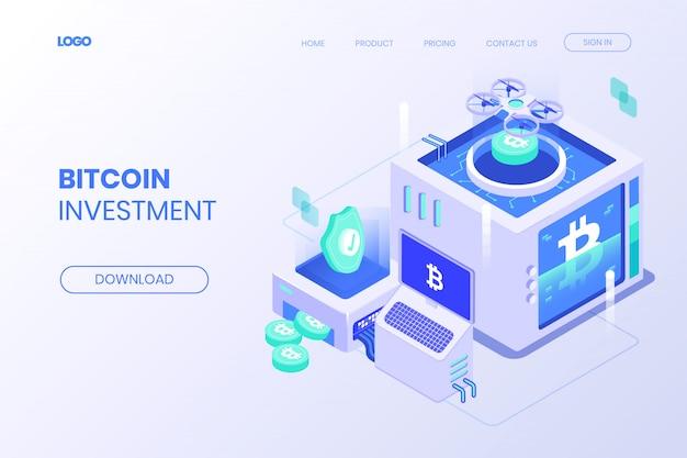 Isometrische bestemmingspagina voor bitcoin-investeringen