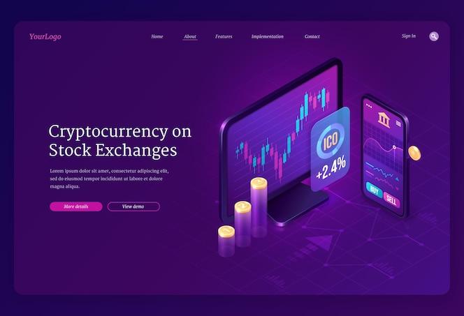 Isometrische bestemmingspagina voor cryptocurrency-uitwisselingsmarkt. digitale geldmijnbouw, computer- en smartphonescherm met handelsgrafiek