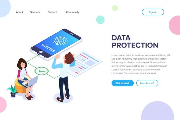 Isometrische bestemmingspagina voor gegevensbescherming