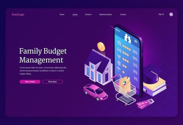 Isometrische bestemmingspagina voor gezinsbudgetbeheer.