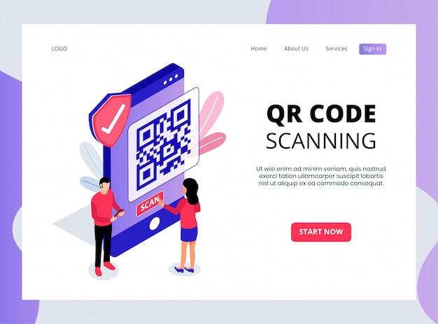 Isometrische bestemmingspagina voor het scannen van qr-codes