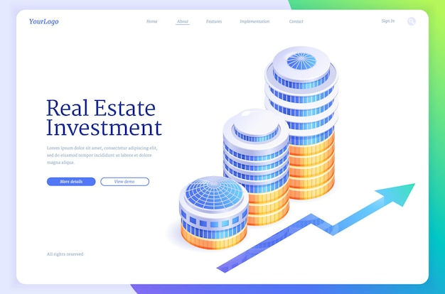 Isometrische bestemmingspagina voor investeringen in onroerend goed