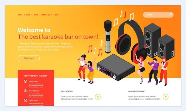 Isometrische bestemmingspagina voor karaoke-websitesjabloon