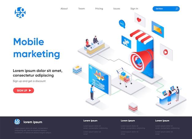 Isometrische bestemmingspagina voor mobiel marketingbureau