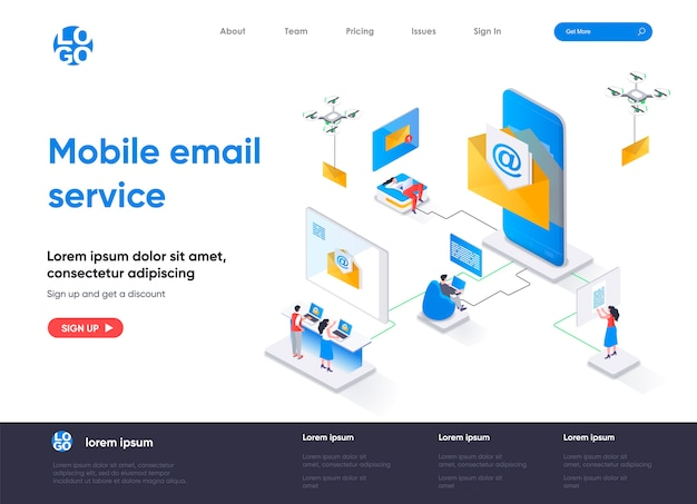 Isometrische bestemmingspagina voor mobiele e-mailservice