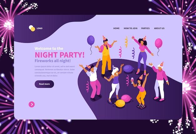 Isometrische bestemmingspagina voor nachtfeestjes