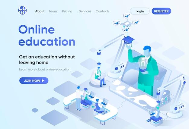 Isometrische bestemmingspagina voor online onderwijs. afstandsonderwijs, professionele cursussen en ontwikkeling van vaardigheden. interactieve studiesjabloon voor cms en website builder. isometriescène met personages.
