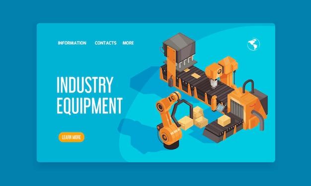 Isometrische bestemmingspagina voor robotautomatisering met koppen van industriële apparatuur en knop voor meer informatie