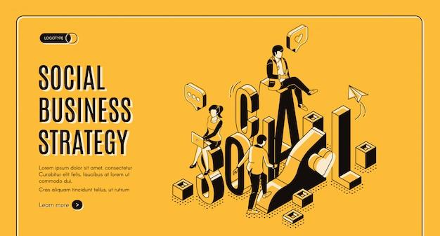 Isometrische bestemmingspagina voor sociale bedrijfsgroei
