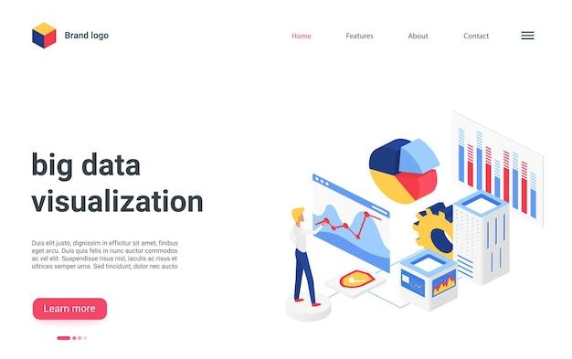 Isometrische bestemmingspagina voor visualisatie van big data-analyse