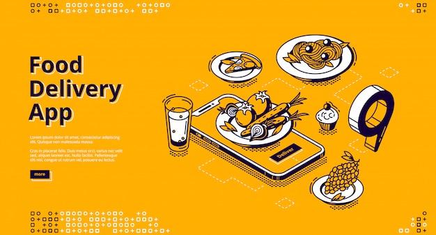 Isometrische bestemmingspagina voor voedselbezorging-app