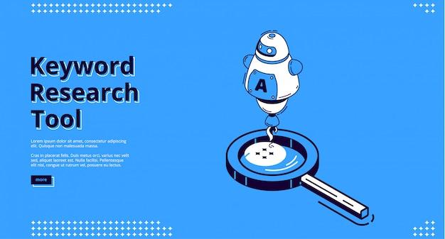 Isometrische bestemmingspagina voor zoekwoordonderzoek.