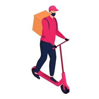 Isometrische bezorger met een beschermend masker die pakketten bezorgt met een elektrische scooter.