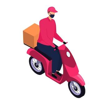 Isometrische bezorger met een beschermend masker die pakketten bezorgt met een motorfiets
