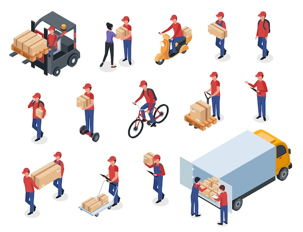 Isometrische bezorgers met doosmagazijnmedewerker postbode koerier met pakket op scooterfietsvrachtwagen Premium Vector