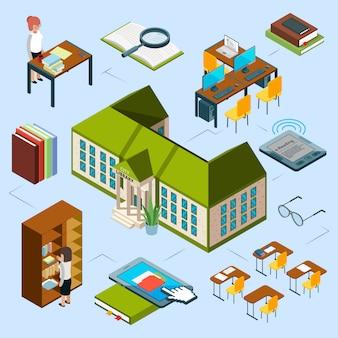 Isometrische bibliotheekconcept. 3d openbare bibliotheekgebouw, computerruimte, e-readingsboeken, bibliothecarissen, boekenplank