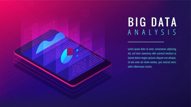Isometrische big data-analyse bestemmingspagina concept.