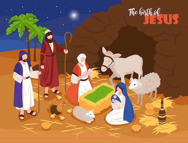 Isometrische bijbelverhalen kerstmis kerststal concept banner samenstelling met outdoor samenstelling en menselijke personages met sheeps