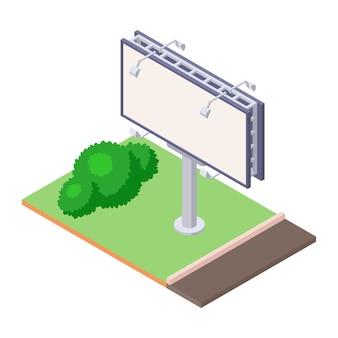 Isometrische billboard op groene grond in de buurt van weg voor buitenreclame. lege bulletin billing banner met lampen. groot stadsaanplakbord voor bedrijfsaankondigingsbericht.