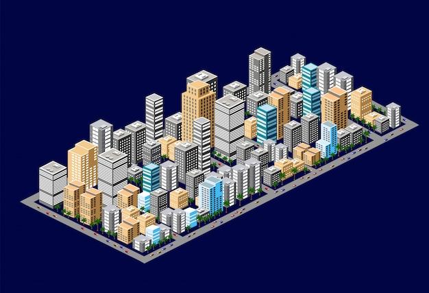 Isometrische binnenstad van stedelijke gebieden