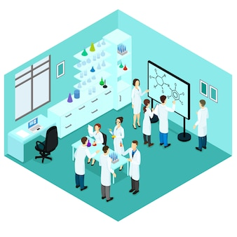 Isometrische biologische wetenschap laboratoriumsjabloon