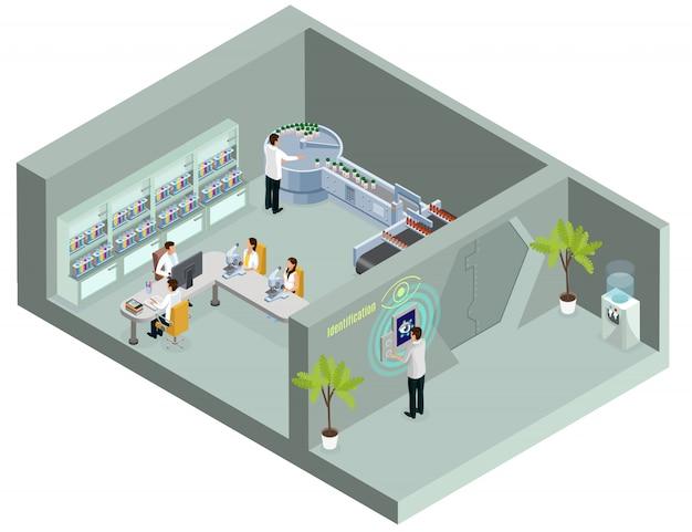Isometrische biometrische identificatiesjabloon met wetenschapper die netvliesverificatie gebruikt voor laboratoriumtoegang