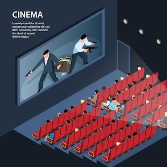 Isometrische bioscoopillustratie met binnenaanzicht van bioscoopplex met zitplaatsen publiek en bewerkbare tekst