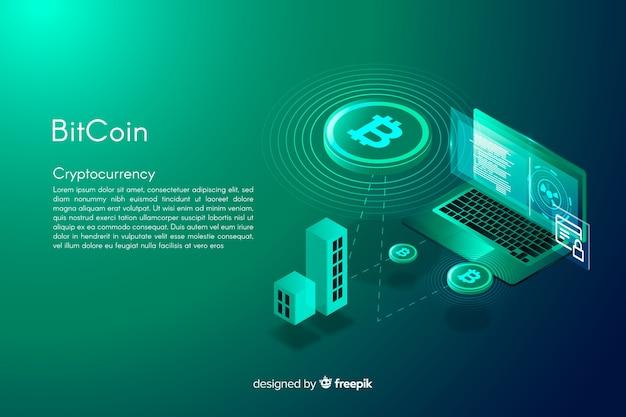 Isometrische bitcoin achtergrond