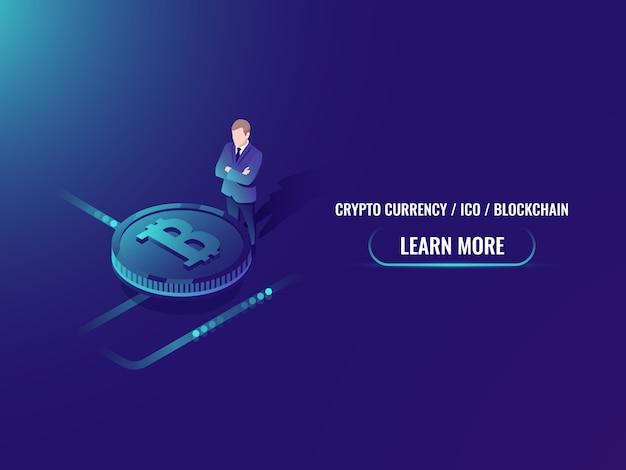 Isometrische bitcoin-investering en mijnbouw, cryptocurrency koop webpagina