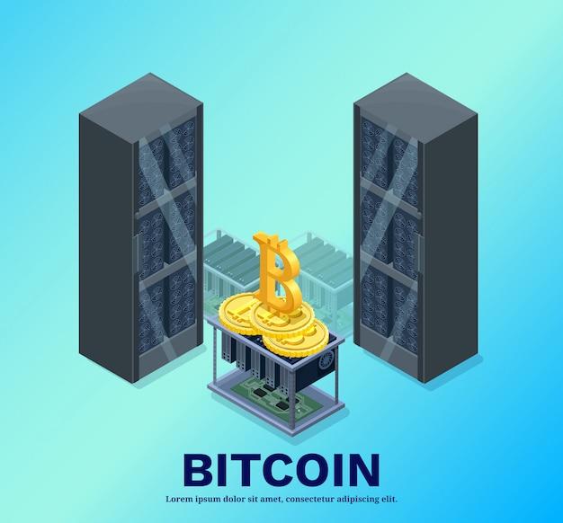 Isometrische bitcoin mijnbouw boerderij, videocircuit en server