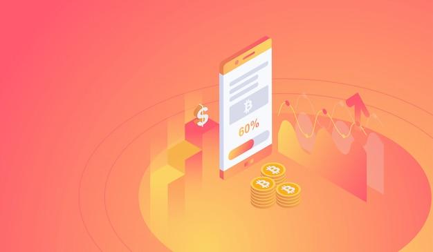 Isometrische bitcoin-mijnbouw op smartphoneconcept.