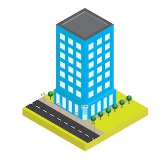 Isometrische blauw building