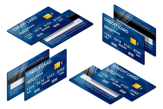 Isometrische blauwe creditcardverzameling