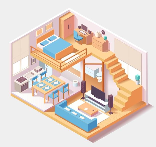 Isometrische blauwe huis verschillende kamers samenstelling